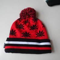 winter maple leaf jacquard cap free knitted plain custom beanie hat