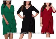 female open front plus size wrap dress three quarters sleeve ruffled hem knee length formal evening dress fat women