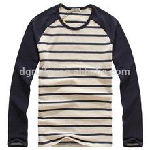 2014 fashion long sleeve shirt wholesale striped t-shirt made in china