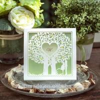 Newest Design Pearl Laser Cut Love Tree Invites Wedding Invitation Card Lawn Wedding CW039