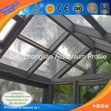 Machined 99.9 pure alloy aluminium profile skylight, shiny easy maintain champagne aluminium skylight
