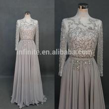 Real Actual Sample Infinite Design Custom Made elie saab Long sleeve arabic evening dress