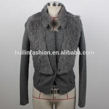 2014 china manufacturer buttoned OEM fashion rabbit fur coat