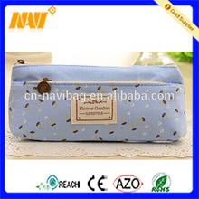 Flower paint swallow pendant canvas cosmetic bag double layer zipper pencil case