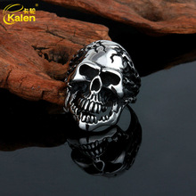 fashion wholesale titanium stainless steel men's solomon skull ring