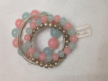 Bohemia candy color resin elastic multilayer bracelet adorn article