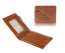 Unique top grain distressed cow leather zipper wallet for men