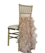 wholesale event decoration wedding decoration blush fancy ruffled chiavari chair covers