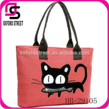Latest down trend canvas cute cat print women handbag