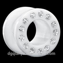 6G (4mm) CZ Circle White Double Flared Acrylic Tunnel Plug acrylic ear expander