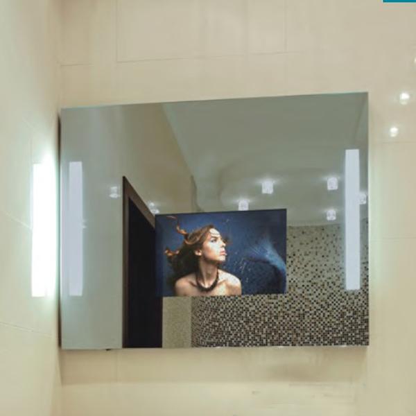 Flachbildschirm hd tv versteckt hinter spiegel fernsehen for Tv im spiegel