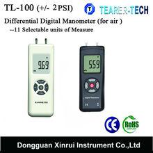 TL-100 dual ports + / - 2PSI Differential Pressure Digital Manometer with 11 units for air pressure measurement