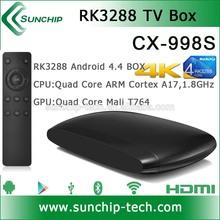 Hot !!! RK3288 Quad core android 4.4 tv box bluetooth 4.0, 4K*2K, XBMC, 2G+8G dual band ARM A17, Mali-T764 AP6330 tv box