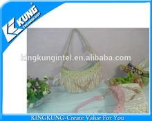 fashion straw bag with A lot of hair/Handbags