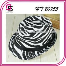 Stylish custom male cotton/polyester zebra printed woven cap with belt