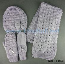 Winter Knitted Warm Scarf Hat Gloves Set