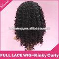 100% rizada peluca rizada llena del lace del pelo humano