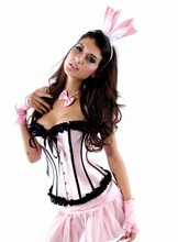 latest sexy lovely pink color sexy satin playboy girls sexy costume