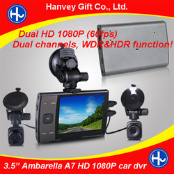 "3.5"" Ambarella A7 dual camera car dvr GPS & G-sensor with waterproof rearview cameras"