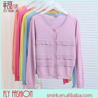 DC267# 2014 Autumn new air-conditioned shirt knit cardigan jacket rib border decoration wholesale