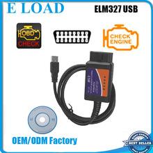 Wholesales OBD2/OBDII scanner ELM 327 car diagnostic interface scanner tool ELM327 USB