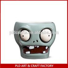 2014 china new product home decor halloween 600ml Ceramic led light skull mug