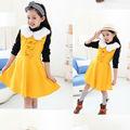 meninas da moda gola de pele sundress menina doce baby saias infantil roupa vestido vestido da dama de honra para as crianças