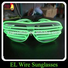 2014 top quality fashion wayfarer el sunglasses shutter shape led el flashing glasses for birthday