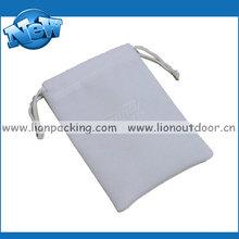 grey simple custom velvet drawstring pouch bag for gifts