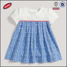 beautiful custom printing spot baby girl summer dress with puff sleeves