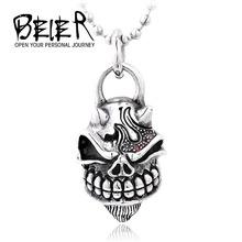 Beier Wholesale Stainless Steel hip hop Skull Pendant For Man Biker Punk Jewelry BP1225