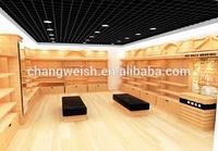 wooden shoe display shelf, shoe store fixture