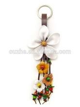 Thailand Beautiful White Daisy Leather Key Chain Key Ring