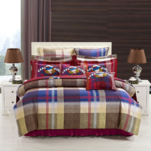 newest fashion plaid 2014 top selling 100% cotton 3d reavtive printing duvet cover bed sheet bedding set