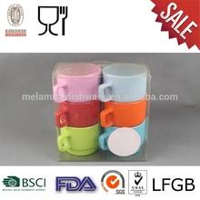ถ้วยกาแฟเมลามีนที่มีชุดของ6สีที่แตกต่างกัน