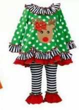 in stock No MOQ wholesale adorable toddler baby girls reindeer animal print christmas plus size clothing ruffle pants outfits