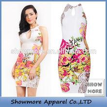 Style No.N267 Wholesale China Manufacture Designed keyhole bandage dress flower pattern printed Stylish Monsoon Floral Dresse