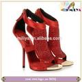 Nuevo miliya las mujeres de moda los zapatos de cristal negro/roja corte fuera del dedo del pie abierto sandalia de tacón alto zapatos