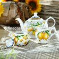Multa elegante porcelana de hueso nuevo pequeño de té de cerámica azúcar& pote de crema de la fragancia de limón