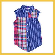 summer sleeveless chiffon check shirts for girls