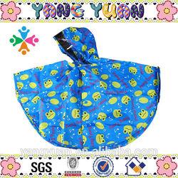 100% hot sale blue polyester high quality rain poncho children OEM