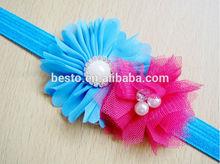 lovely infant baby adorned mesh pearl flower baby headband