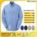7.5 oz algodão resistente a chama camisa de trabalho/hrc2 resistente à chama sarja 88% algodão/12% nylon camisa workwear