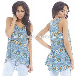 2015 new design printed vest sleeveless zip back design tops designer kurtis for girls