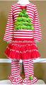 Moda en kaliteli 100% pamuklu örme pluse boyutu xmas tree uzun kollu elbise fırfır pantolon yeni doğan bebek yılbaşı kıyafetleri