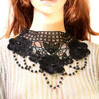 Wide ladies lace flower beaded chokers collars ladies collar styles