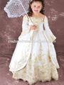 Luxo 2014 rainha de ouro da princesa manga comprida bordado com contas de cristal crianças girls' flower girl dress rtt-0523