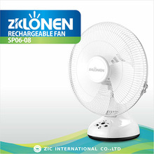 LONEN cooling 220V solar input charge 14 inch AC/DC LED light with FM radio emergency plastic table rechargeable fan