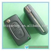 High quality for citroen key 2 Button Flip Key with Groove Blade Without Battery Silca: HU83 case to start the car