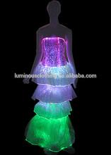 New long party evening dresses charming luminous dress with fiber optical fabric night dress
